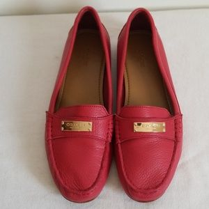 Coach Fredrica Red Pebbled Leather Loafer